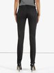 Black Cotton Casual Zipper Straight Leg Pant
