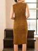 Golden Sleeveless Pleated Midi Dress