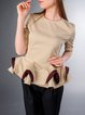 Beige Statement Cotton-blend Short Sleeved Top