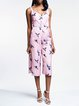 Pink Statement Spaghetti Bird Print Wide Leg Jumpsuit
