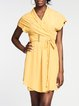 Yellow Skater Surplice Neck Casual Mini Dress