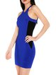 Royal Blue Halter Bodycon Statement Plain Premium Bandage