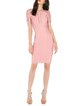 Pink Crew Neck Cocktail Cutout Bodycon Midi Dress