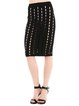 Black Bodycon Pierced Casual Midi Skirt