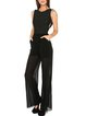 Plain Sleeveless Polyester See-through Look Casual Jumpsuit