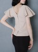 Beige Plain Frill Sleeve Short Sleeved Top