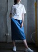 Blue Casual H-line Plain Pockets Midi Skirt