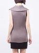 Gray Sleeveless Shirt Collar Asymmetrical Cardigan