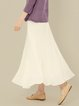 White A-line Casual Plain Cotton Maxi Skirt