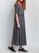 Gray Half Sleeve Crew Neck Pierced Plain Maxi Dress