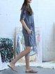 Gray Embroidered Short Sleeve Plain Shift Mini Dress