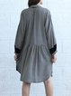 Black Shirt Collar Checkered/Plaid Casual Midi Dress