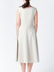 Cream Crew Neck Hand Made Sleeveless Midi Dress