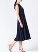 Dark Blue Hand Made Sleeveless Crew Neck Midi Dress