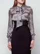 Gray Animal Print Long Sleeve Silk Blouse