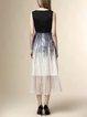 Black Sleeveless Silk Color-block Midi Dress