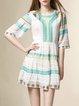A-line Half Sleeve Vintage Mini Dres