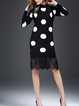 Long Sleeve Polyester Polka Dots Sheath Casual Midi Dress