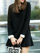 Long Sleeve Wool Blend Casual Mini Dress