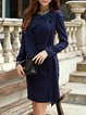 Long Sleeve Plain Work Midi Dress