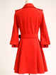 Red Formal Solid Midi Dress