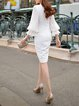 White Sheath V Neck Balloon Sleeve Midi Dress