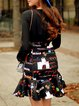 Black V Neck Floral Flounce Long Sleeve Mini Dress