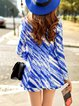 Blue Ombre/Tie-Dye Printed Casual Shorts