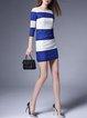 Blue 3/4 Sleeve Sheath Mini Dress