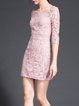 Pink Half Sleeve Sheath Mini Dress