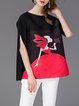 Ribbed Cartoon Print Blouse