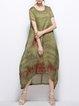 Floral Short Sleeve Simple Midi Dress