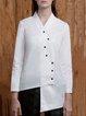 White Plain Asymmetric Cotton Casual Blouse