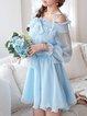 Blue Polka Dots Off-shoulder Balloon Sleeve Mini Dress