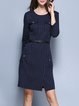 Navy Blue Elegant Stripes Midi Dress
