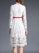 White Girly Crocheted Lace Pierced Midi Dress