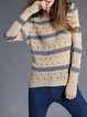 Apricot Knitted Stripes Pierced Long Sleeve Sweater