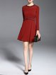 Red Long Sleeve Folds Crew Neck A-line Midi Dress