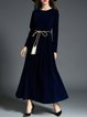 Navy Blue Plain A-line Elegant Maxi Dress