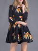 Multicolor A-line Printed Crew Neck Long Sleeve Mini Dress