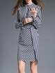 Black Stripes Sheath Long Sleeve Midi Dress