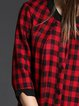 Casual A-line Checkered/Plaid 3/4 Sleeve Midi Dress