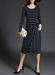 Navy Blue Stripes Crew Neck Shift Long Sleeve Sweater Dress