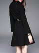 Black Casual Cotton-blend Stand Collar Midi Dress