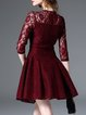 Wine Red Wool Blend A-line Guipure Lace 3/4 Sleeve Mini Dress