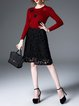Crimson Crew Neck Long Sleeve Guipure Wool blend Midi Dress