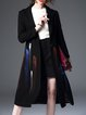 Black H-line Painted Wool Blend Long Sleeve Coat