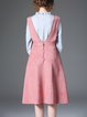 Pink A-line Stripes Cotton-blend Sleeveless Midi Dress