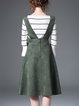Pockets Casual Cotton-blend Sleeveless Stripes Midi Dress