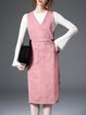 Pink V Neck Sleeveless Cotton-blend H-line Midi Dress